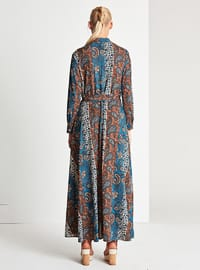 Blue - Multi - Button Collar - Point Collar - Fully Lined - Dress