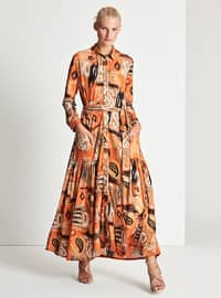 Orange - Multi - Button Collar - Point Collar - Fully Lined - Dress