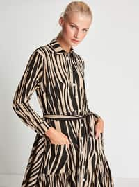 Mink - Multi - Button Collar - Point Collar - Fully Lined - Dress