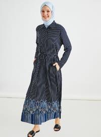 Bleu marine - A rayures - Col boutonné - Col français - Tissu non doublé - Robe