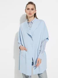 Baby Blue - Shawl Collar - Unlined -  - Poncho