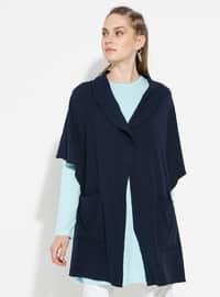 Navy Blue - Shawl Collar - Unlined -  - Poncho