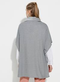 Gray - Shawl Collar - Unlined -  - Poncho