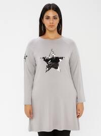 Gray - Crew neck - Viscose - Plus Size Tunic