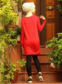 Red - Multi - Crew neck - Cotton - Acrylic - Tunic