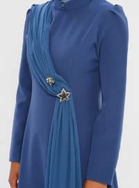 Blue - Navy Blue - Indigo - Unlined - Crew neck - Muslim Evening Dress