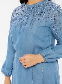 Blue - Navy Blue - Indigo - Unlined - Crew neck - Cotton - Denim - Plus Size Dress - Ginezza