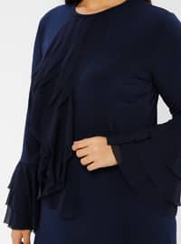 Navy Blue - Unlined - Crew neck - Plus Size Dress