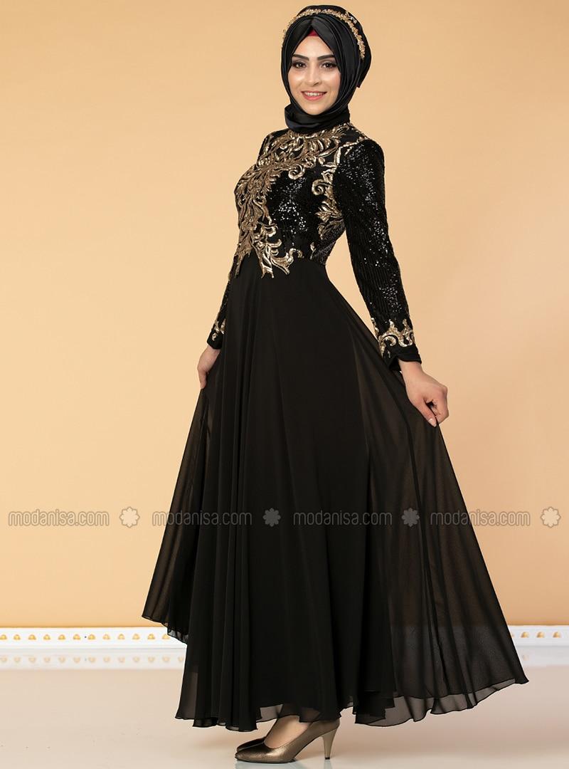 Black - Fully Lined - Crew neck - Chiffon - Muslim Evening Dress