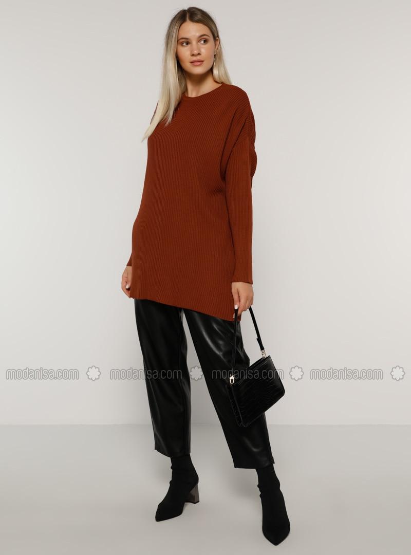 Cinnamon - Crew neck - Acrylic - - Plus Size Tunic