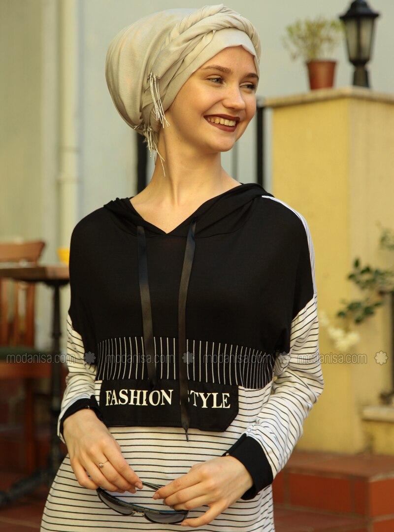Black - White - Stripe - Cotton - Acrylic - Tunic