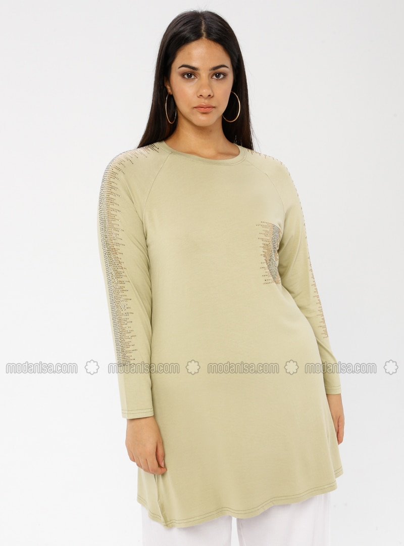 Green Almond - Crew neck - Viscose - Plus Size Tunic