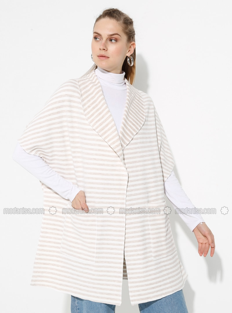 Ecru - Brown - Stripe - Shawl Collar - Unlined -  - Poncho