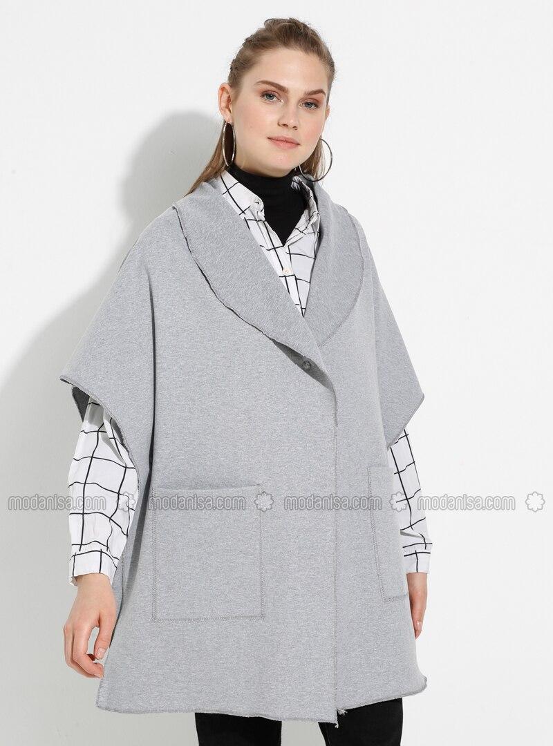 Gray - Shawl Collar - Unlined -  - Poncho