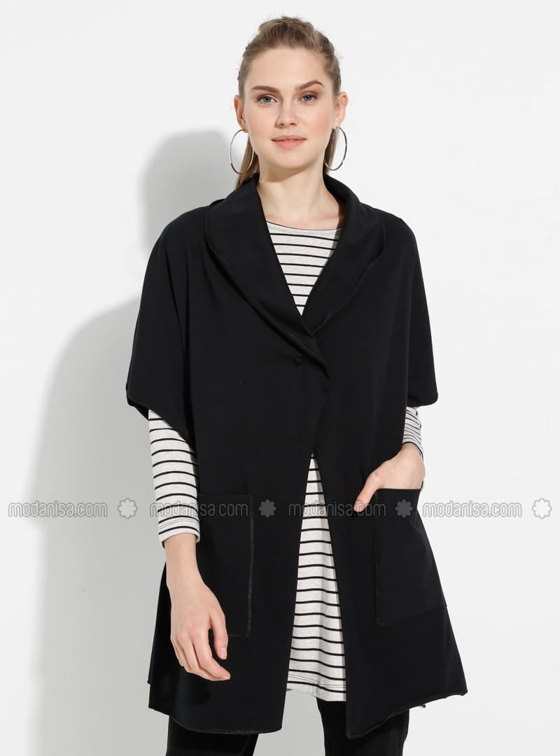 Black - Shawl Collar - Unlined -  - Poncho
