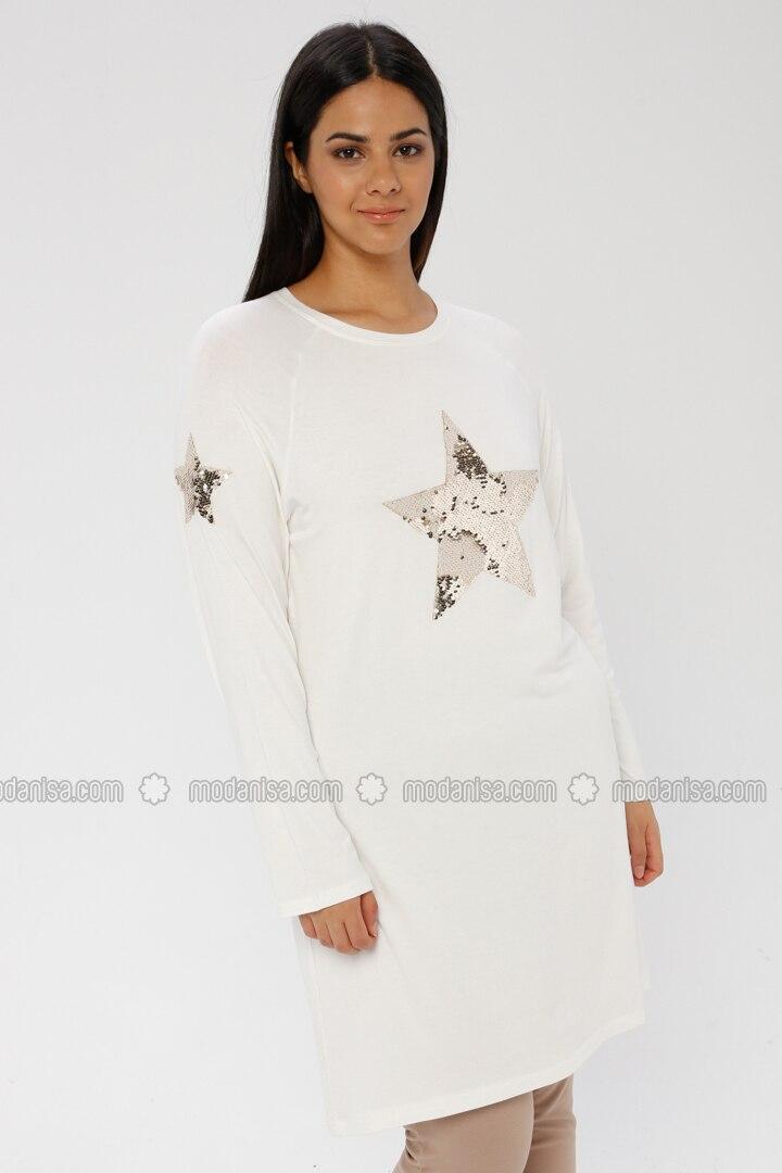 White - Ecru - Crew neck - Viscose - Plus Size Tunic