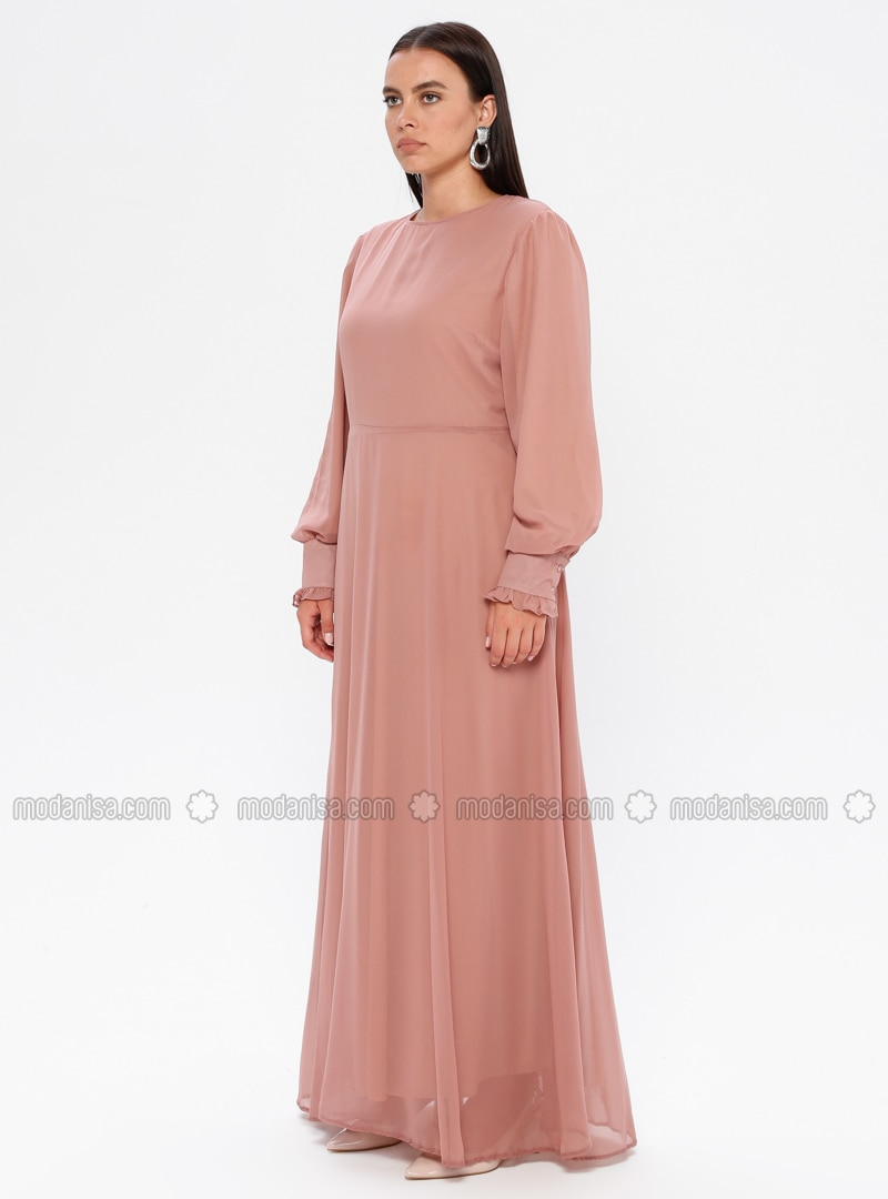 Dusty Rose - Fully Lined - Crew neck - Plus Size Dress