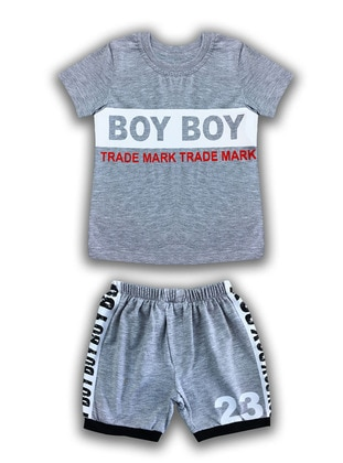 Multi - Crew neck - Cotton - Gray - Baby Suit