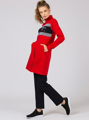 Red - Navy Blue - Polo neck - Tracksuit Set