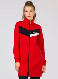 Red - Black - Polo neck - Tracksuit Set