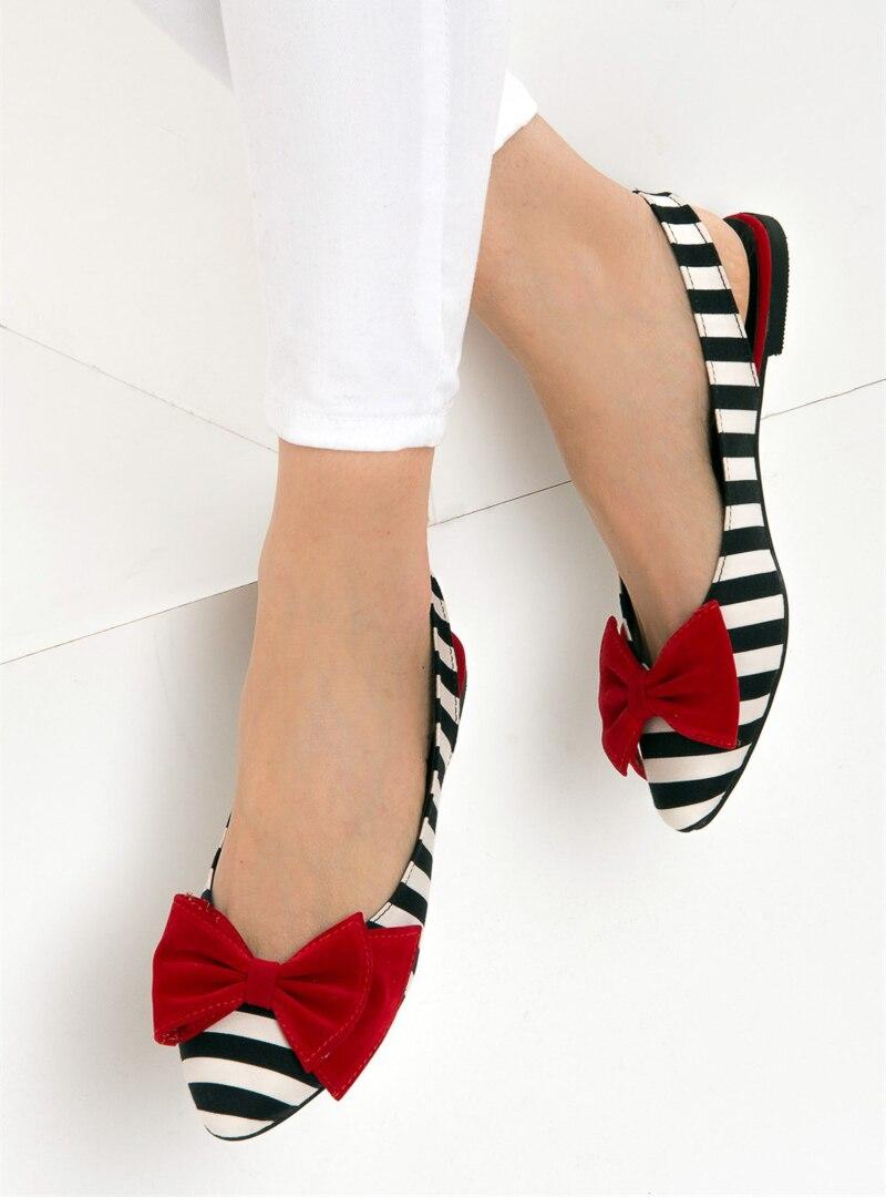 Tesettür Babet Fox Shoes Beyaz Kırmızı Siyah Kadın 37