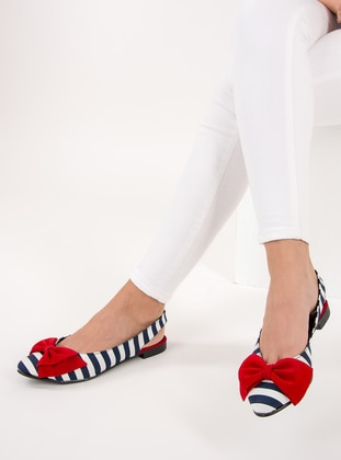 Red - White - Navy Blue - Flat - Flat Shoes