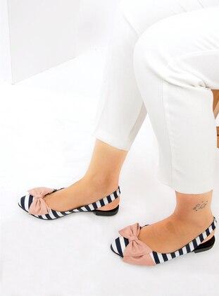 White - Navy Blue - Powder - Flat - Flat Shoes