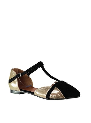 Black - Gold - Flat - Flat Shoes