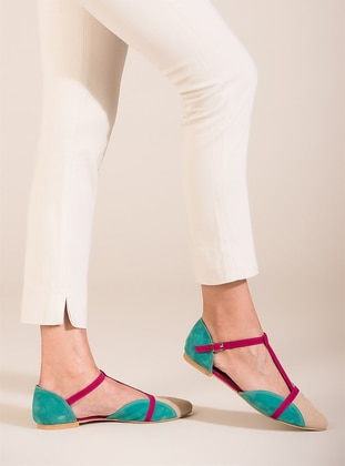 Fuchsia - Nude - Green - Flat - Flat Shoes