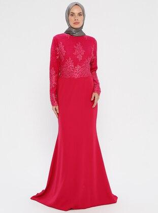 Fuchsia - Unlined - Crew neck - Muslim Evening Dress