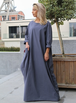 Blue - Gray - Unlined - Crew neck - Cotton - Abaya