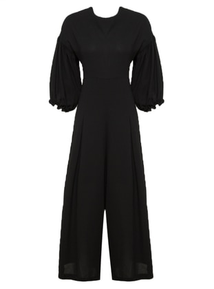 Black - Unlined - Jumpsuit - Mileny