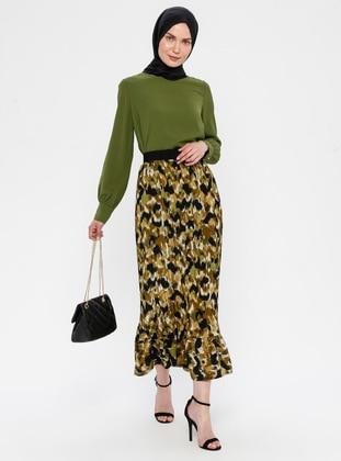 Green - Multi - Half Lined - Skirt