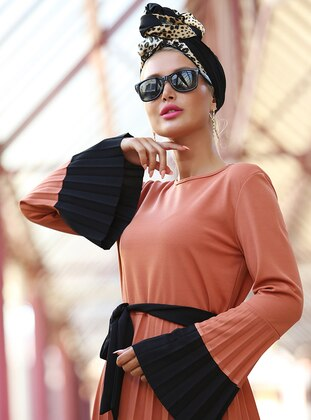 Black - Terra Cotta - Crew neck - Unlined - Dress