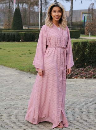 Pink - Unlined - Shawl Collar - Abaya