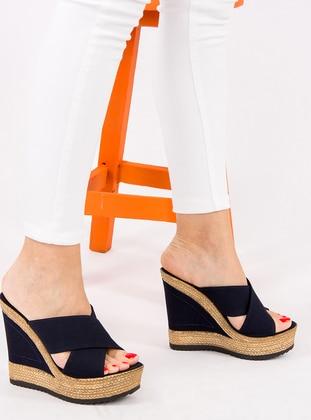 Navy Blue - Sandal - High Heel - Slippers