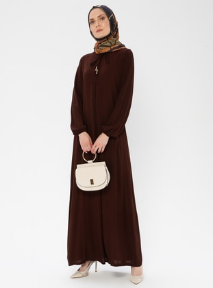 Brown - Unlined - Viscose - Dress
