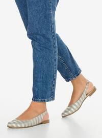 Gray - Silver tone - Flat Shoes