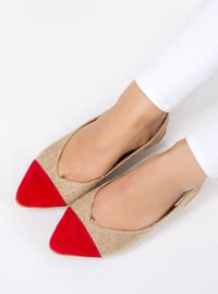 Beige - Red - Flat - Flat Shoes