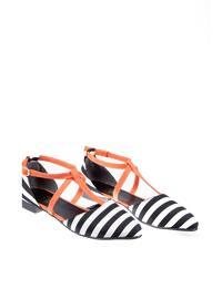 Black - White - Orange - Flat - Flat Shoes