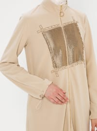 Beige - Unlined - Polo neck - Topcoat