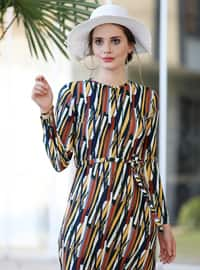 Multi - Multi - Crew neck - Unlined - Dress
