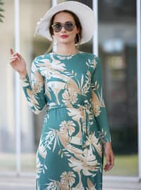 Mint - Stone - Multi - Crew neck - Unlined - Dress