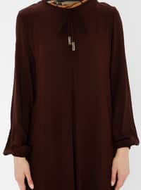 Brown - Unlined - Viscose - Dress