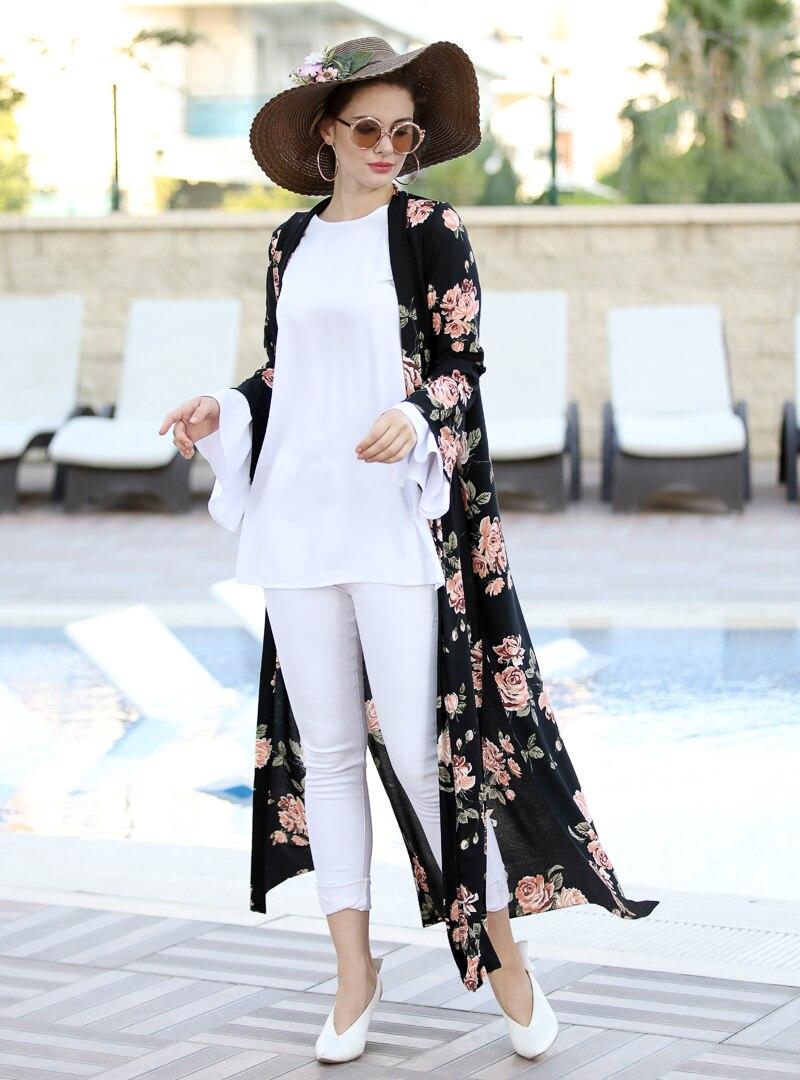 Tesettür Ceket Selma Sarı Design Siyah Somon Kadın 38