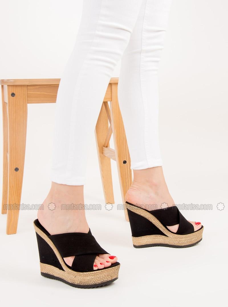 Black - High Heel - Slippers