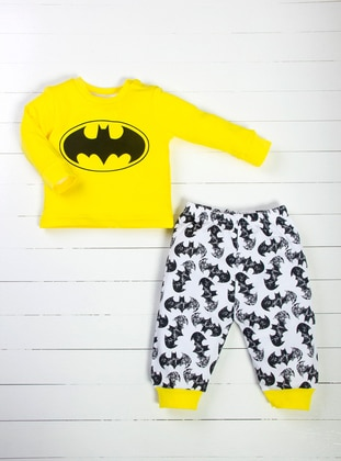 Multi - Crew neck - Black - White - Yellow - Baby Pyjamas