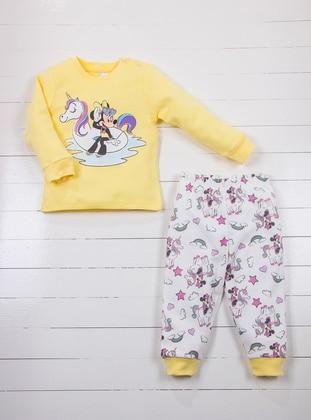 Multi - Crew neck - Yellow - Ecru - Baby Pyjamas