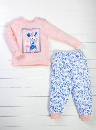 Multi - Crew neck - Blue - White - Pink - Baby Pyjamas