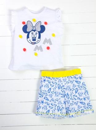 Polka Dot - Multi - Crew neck - Blue - White - Yellow - Girls` Suit